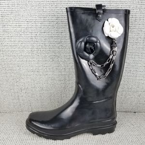 NEW Dirty Laundry Rubber Rain Boot Chain Floral …